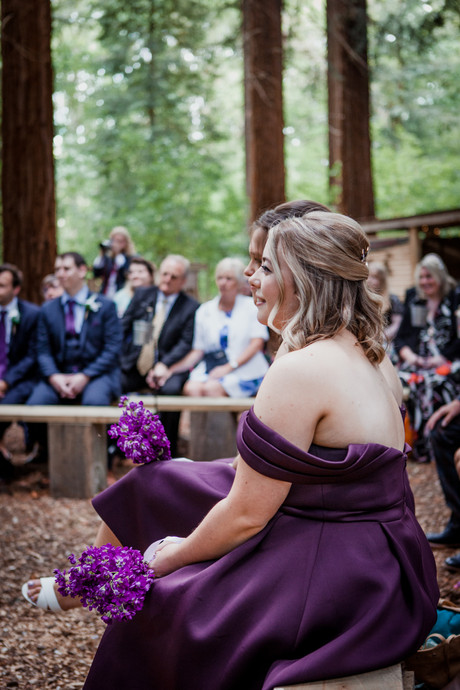 Purple Bridesmaid with Purple Bouquet
