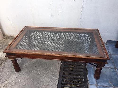 Beautiful large Indian wood and lattice coffee table
