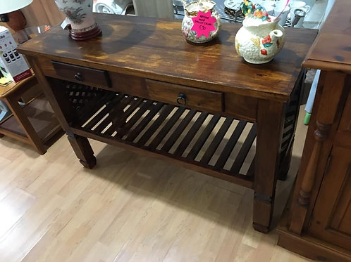 Beautiful Indian wood console table with two drawers and lattice detail
