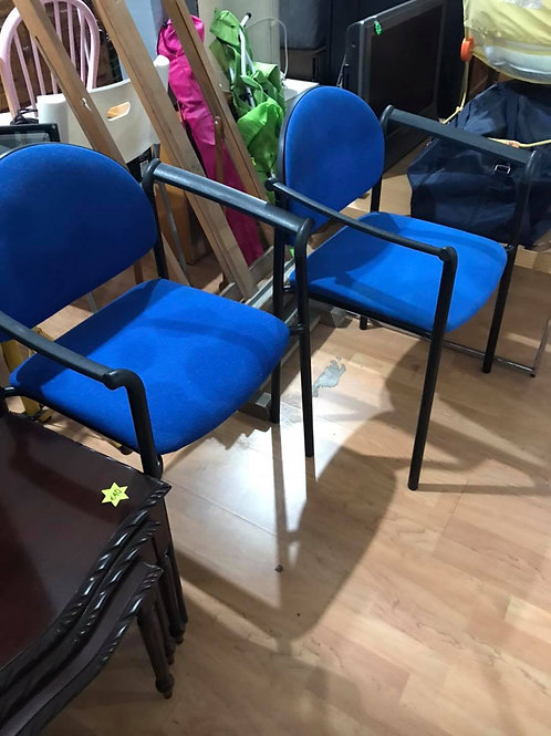 2 Blue fabric chairs with black metal legs