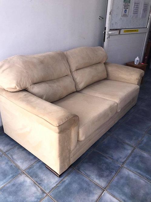 Buttermilk faux suede sofas