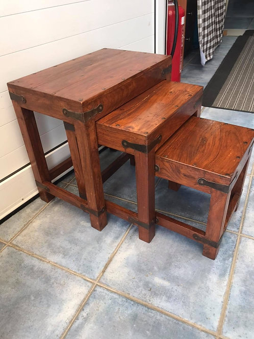 Nest of 3 heavy Indian wood tables