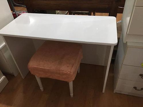 White high gloss desk/dresser and stool