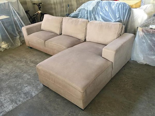 High quality cream velour corner sofa