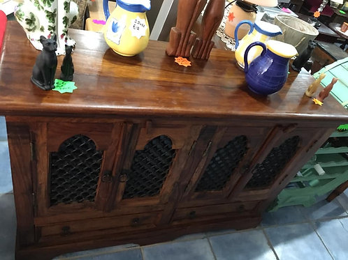 Small Indian wood sideboard with lattice cupboards