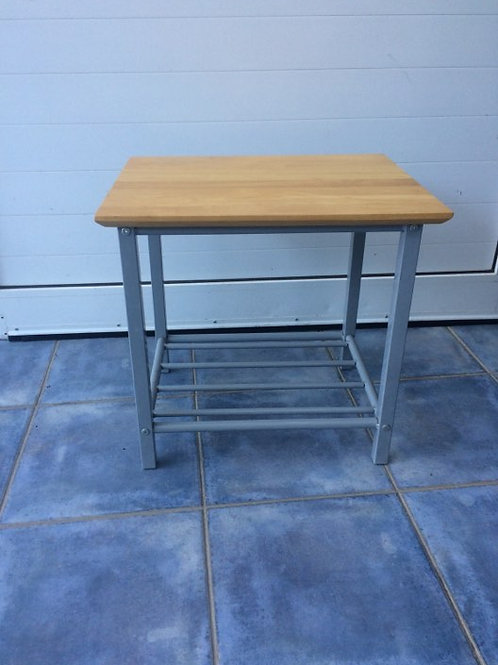 Silver and light wood occasional table