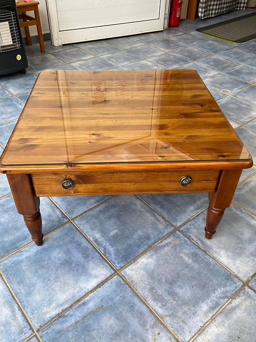Beautiful handmade farmhouse pine coffee table with a drawer
