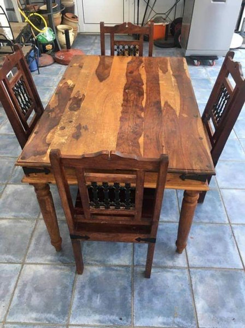 Beautiful Indian wood dining table and 4 chairs with lattice detail