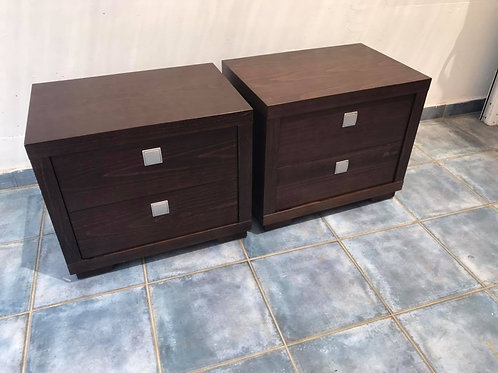 2 heavy dark wood 2 drawer bedsides