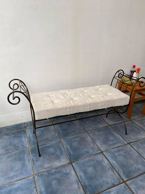 Wrought iron and fabric seat bench