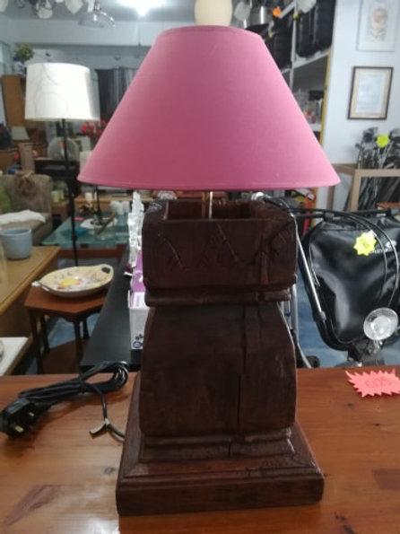 Hand carved vintage wood base lamp