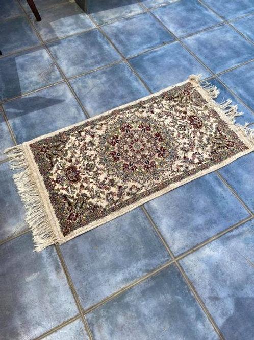 Mashad Persian silk fringed bedside rug