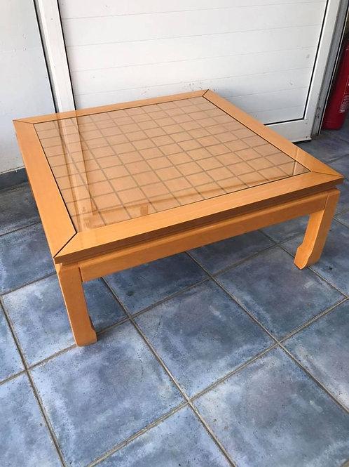Large pale wood veneer coffee table