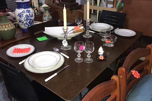 Modern black/brown dining table and four chairs
