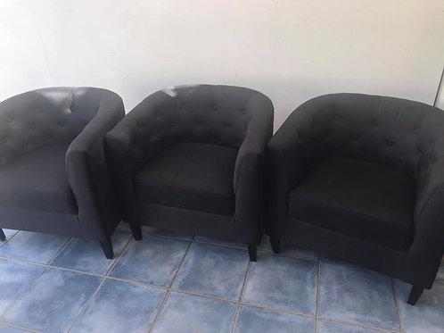 High quality black cloth tub bucket chair 1 left