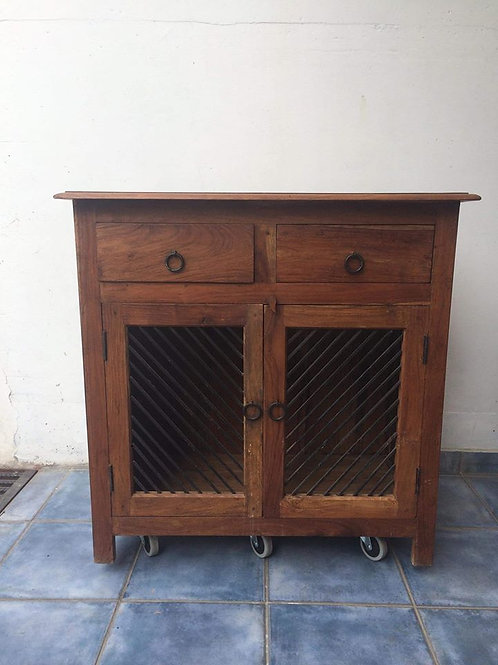 Stunning indian wood unit with 2 drawers and 2 doors