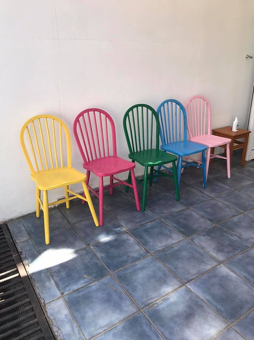 Brightly hand painted set of 5 wooden chairs
