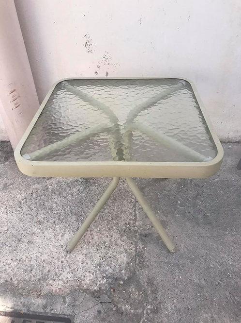 Beige outside small aluminium table