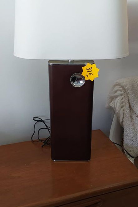 Brand new tall lamp with wood and metal base
