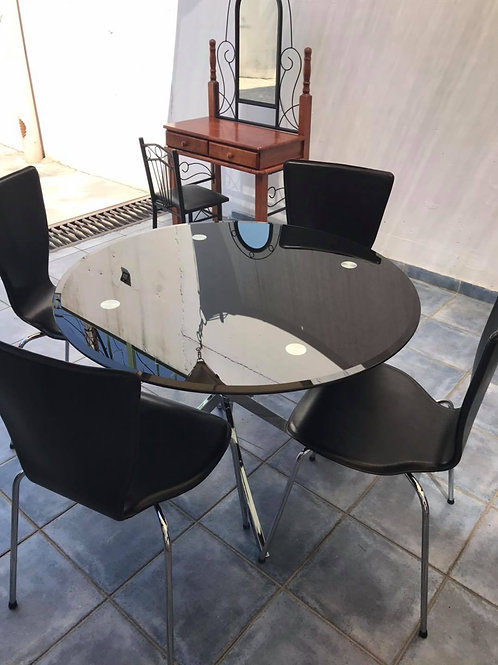 Black tempered glass round dining table and 4 faux leather chairs