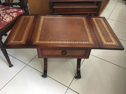Beautiful antique drop leaf occasional table with leather inlay