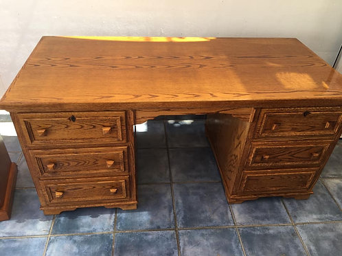 Beautiful solid wood six drawer large desk