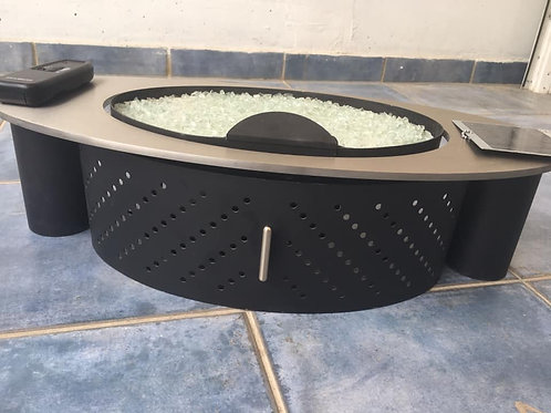 Gazco remote controlled flame gas fire with crystals