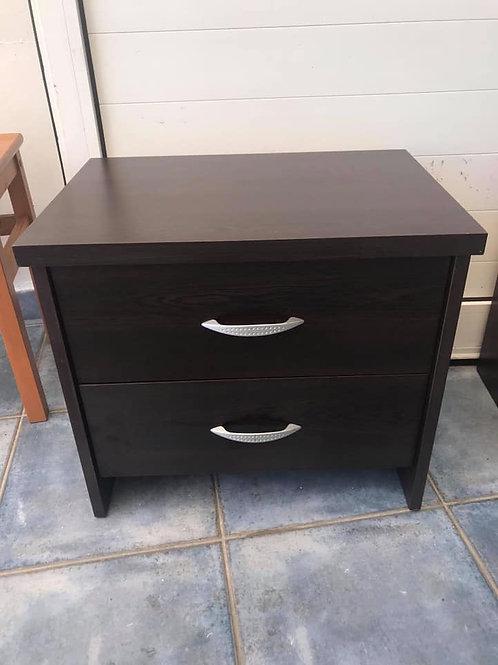 Dark veneer two drawer bedside