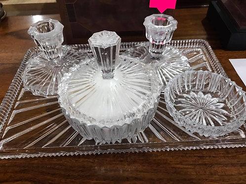 Cut glass dressing table set