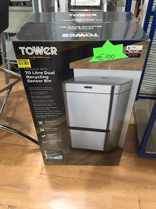 Brand new Tower stainless 70ltr recycling bin