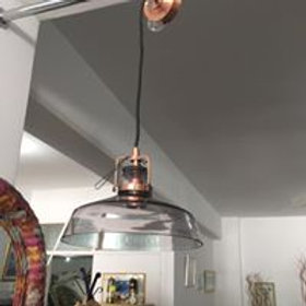 Copper and smoked glass light fitting