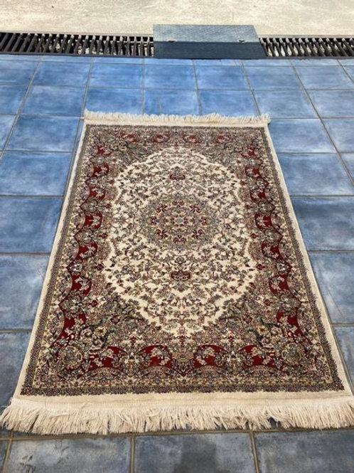 Large rectangular Mashad Persian silk rug