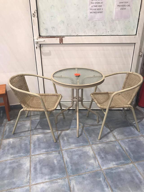 Cream bistro table and 2 chairs