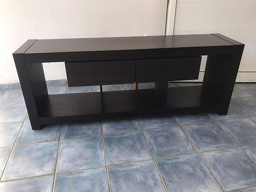 Very dark brown black TV cabinet with 2 drawers