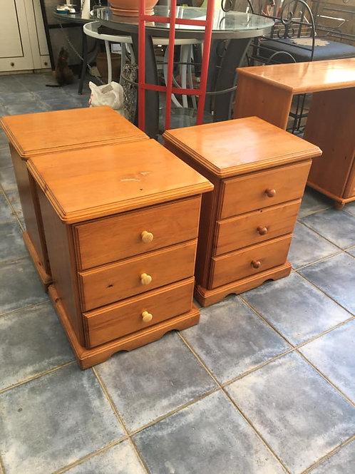 Three drawer pine bedsides