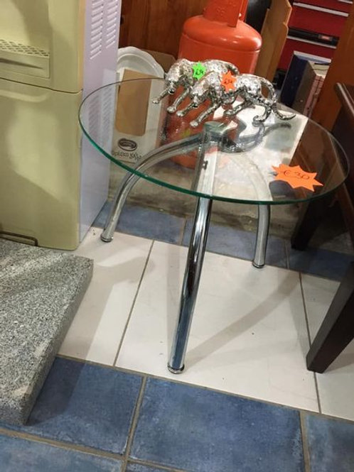 Small round glass and chrome occasional table