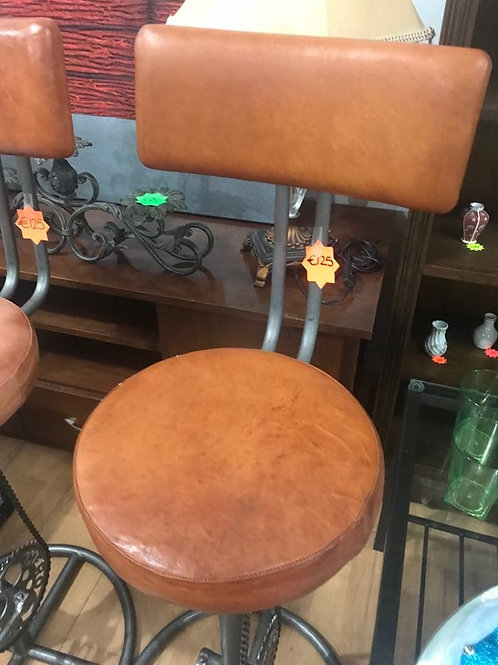 Two unusual Leather pedal mechanism bar seats