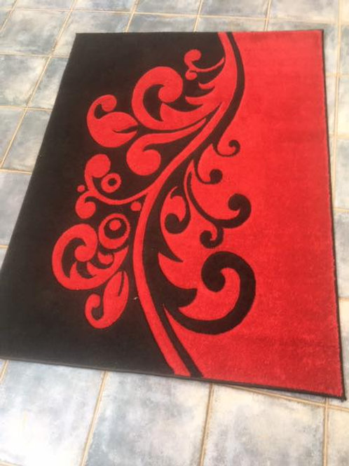 Modern red and black rug