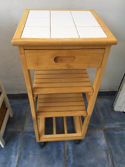 Pine and white tiled kitchen island on castors