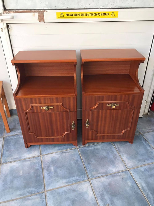 Pair of 1 drawer & cupboard bedsides with covered locker area