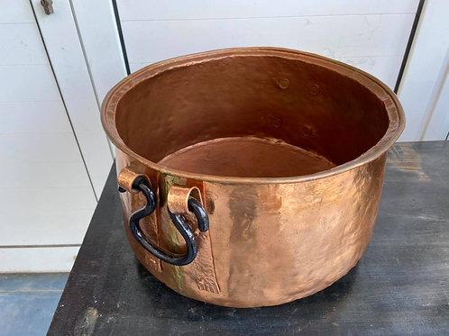 Large copper cauldron cooking pot