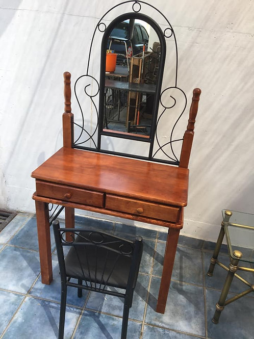 Lovely wrought iron and wood dresser with chair