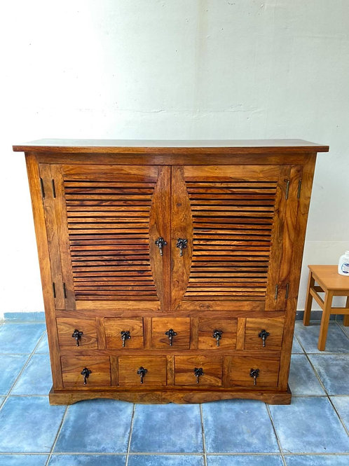 Magnificent Indian wood drinks cabinet with 9 drawers