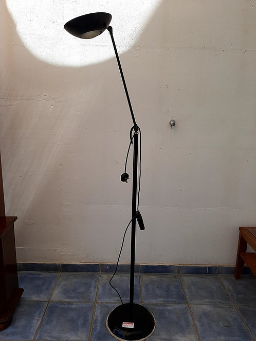 Black lounge uplighter/reading lamp with foot switch