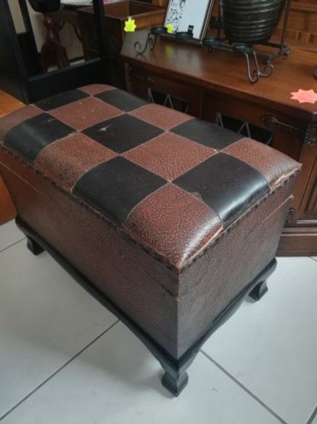 Antique wood and leather chest