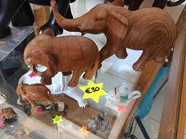 set of 4 wooden elephants