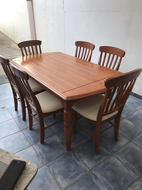 Stunning american cherry dining table and 6 high backed dining chairs