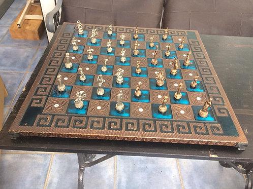 Beautiful brass tile chess set