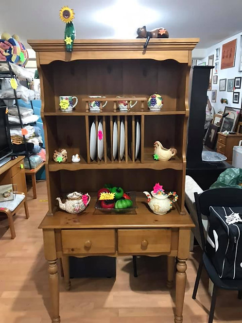 Unusual pine dresser with shelves, plate rack and 2 drawers