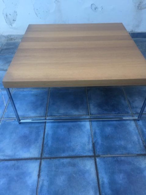 Low level light wood and stainless coffee table